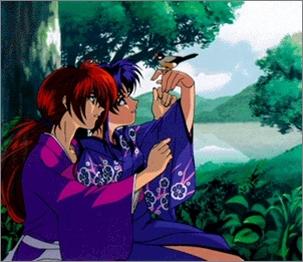 Kaoru Kamiya and Himura Kenshin from Rurouni Kenshin.