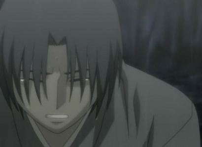 """This scene made me die a little inside. I cry so hard whenever I watch it... I cried just finding this picture! This is Shigure Sohma from Fruits Basket in episode 25, """"True Form"""". Sorry if it's a spoiler to anyone. But when he starts crying... I just die inside. It is NOT a good sign when your comic relief starts crying. And it's so sad! this was me when this happened: Me: DON'T GIVE UP, TOHRU-KUN! *cries*"""