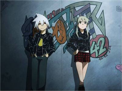 SOUL EATER!!!!!!!!! KIDD & MAKA of course!! kyahaha! :D but kidd's not there... hu hu huh T.T