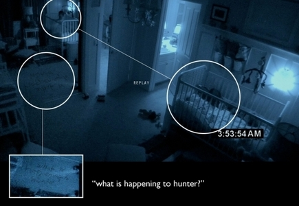 paranormal activity... frist time I seen it scared the crap out of me. slept with my sis for a week..xD