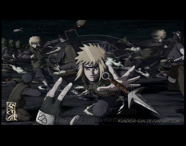 Minato in the thrid Shinobi war. He himself took out 500 Shinobi in a blink of an eye x3 Thats right people he is awesome!