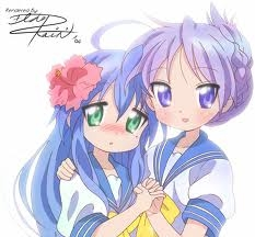 konata and kagami (lucky star) I think they r cute 2geter