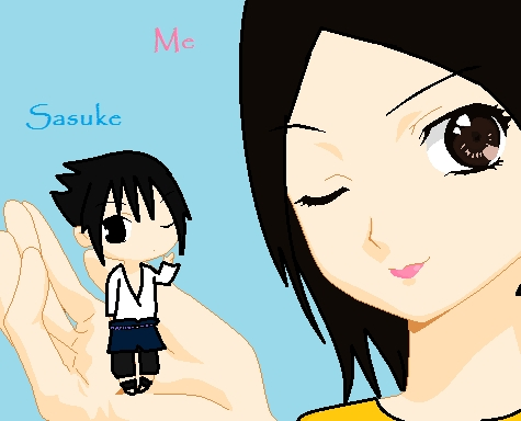 IM THE ONE HOLDING SASUKE =3 IVE GOT THIS BASE FROM DEVIANTART AND PUT HAIR AND STUFF ON PAINT
