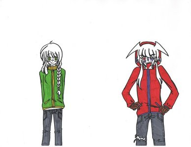 both of the Bakura's. Insane, evil, smart, and a smart ass. (or so everyone i know says...) but im nice, shy, and stuff like that around people i never met. and we have the same tase in chothles!~ (and thats kinda werid because there both boys. -_-;)
