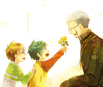 Rin and Yukio Okumura, with Fujimoto Shiro! I cinta all the family pics with these three. Team seven pictures are a close detik though :/