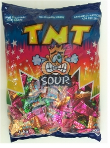 wow, TNT'S, we had them at school, till the govoment berkata schools r banned from having lollies, i havent had then in ages. They r like a chewy, but inside they had a asam paste, omg.... i want some!
