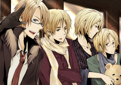 England, France, Canada and America from Hetalia~! X3 Mattie and Alfred ARE brothers, France is technically Canada's dad and England IS technically Alfred's dad, so that makes England, America, France and Canada related..>w< <3