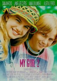 well I wouldn't say they love each other in the end but they definitly like & care for each other, and in the beginning hate each other.But the first movie that comes to mind for me is My Girl 2.You probably already saw it though, right?
