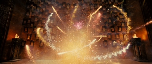 I thought this was really gorgeous! It's during the fifth movie when the Weasley twins decide that they've had enough of Umbridge and set off the feuer works in the Great Hall!