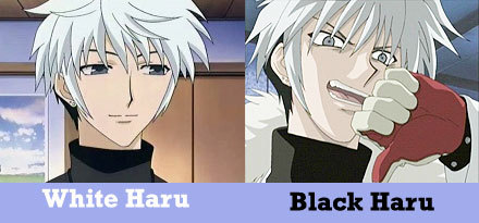 """Black Haru ^_^ Haru has two personalities, black and white. Under normal circumstances, Hatsuharu is mild-mannered and kind, a gentleman. When he turns """"black"""", however, he becomes violent, perverted, short-tempered, rude and cruel."""