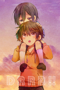 From デュラララ!! Shizuo with his little bro. Its もっと見る like a carrying than a holding. XD