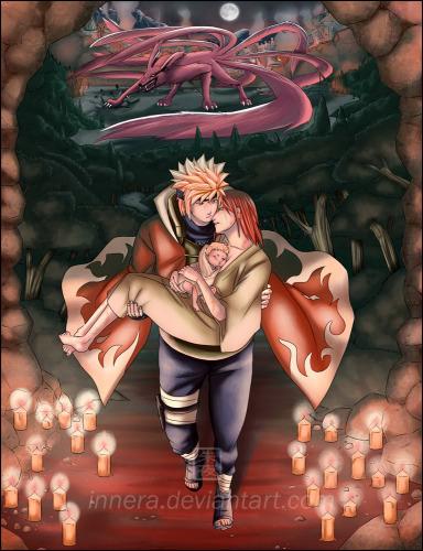 Minato holding Kushina and 火影忍者 :'(