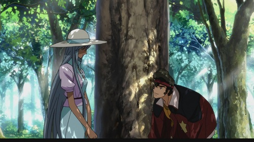 In the anime, Code Geass, the Holy Empire of Britannia takes over Japan, re-naming it Area 11. Viletta Nu (the girl) is a high-ranking member of the Britannian military, while Oghi (the boy) is of the same status, but with the Japanese rebellion. During one of the battles, Viletta loses her memory and Oghi finds her unconscious, not knowing that she is considered the enemy. He takes care of her and they start liking each other... until Viletta gets her memory back. ^_^