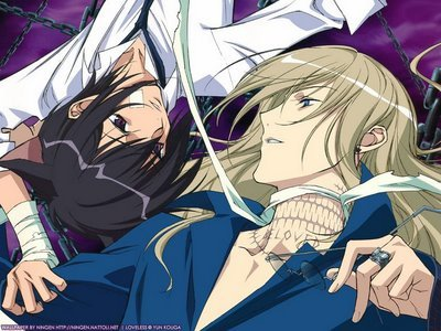 coz sebatian x ciel is takin i'll put my 秒 fav soubi x ritsuka from loveless soubi has the true name of beloved and ritsuka has the true name of loveless and in loveless true names make your fate loveless:one without 爱情 beloved:one loved 由 all and 你 can see the name beloved on soubi's neck they have both been pretty much tortured for years and ritsuka 迷失 his memory when he truned 10 soubi 迷失 his mom and dad when he was 6 and their is 更多 but their is so much i can't put it down just watch the 日本动漫 或者 look it up if 你 really want to know XD