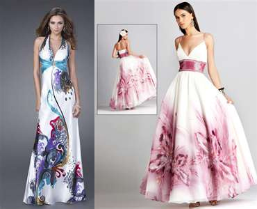 I like the kulay-rosas && white one~! but i have already been to my high school prom && my dress looked like the paisley one minus the blue thing in the middle.