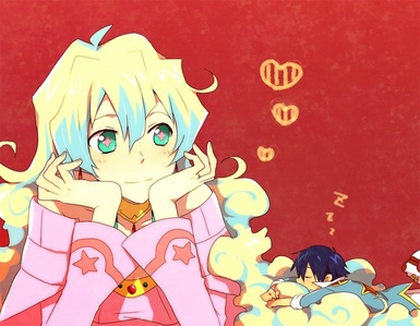 Nia from Gurren Lagann! Her hair looks like little clumps of clouds and it's, like three different colours! lol