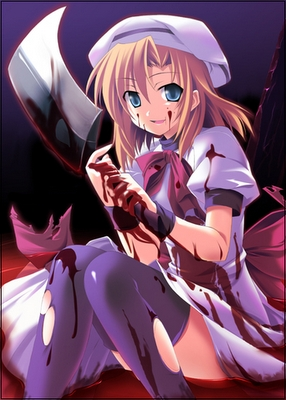 Rena Ryouga from when they cry, she is so scary when she murders people...