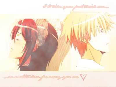 Misaki Ayuzawa and Tukumi Usui (I think) someone tell me if am wrong >.< !! Well Misaki is always a challengive type and wants to beat Usui and there are many things that might break them apart !!
