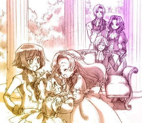 The Britannian kids (Code Geass) pre-war: Lelouch, Nunnally, and Euphemia in the front. Schneizel (sp?), Cornelia, and Clovis in the back. ^_^
