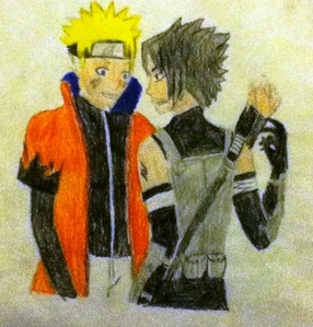A really old half-assed sketch I did of NaruSasu. It's the only thing I have on this computer, so... yeah.