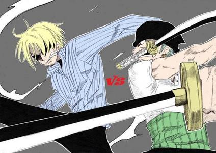 Okay first I was like, oh Natsu and Gray and while I'm scrolling someone already took that. And then I'm like oh Sonic and Knuckles are rivals right? STOLEN. So this is my 次 pick. Meet Sanji and Zoro from One Piece