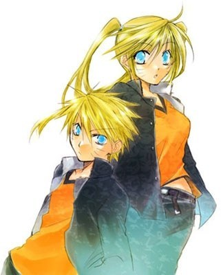 Both of the people in the picture are NARUTO -ナルト- Uzumaki, but the right person actually is his girl jutsu form, Naruko.