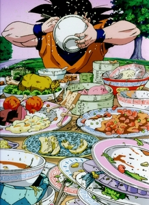 Okay, so I believe that out of all of the anime's I've watched that গোকু was the one who ate the most! He LOVES all foods!! Well, except for veggies... খাবার comes সেকেন্ড to fighting for this lovable Saiyan!:D