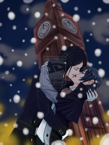 Sebby and ciel in the snow ^^