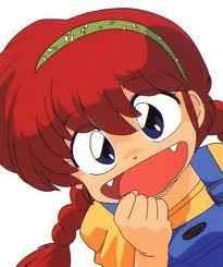 well its not the best but how about girl ranma. she has red hair with pigtails