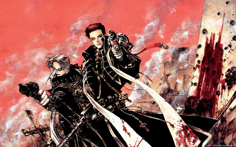 I highly recommend Trinity Blood.  It's about vampires and it's beautiful,exciting,funny and sad. Also Kekkaishi is good. It's about demon hunters.