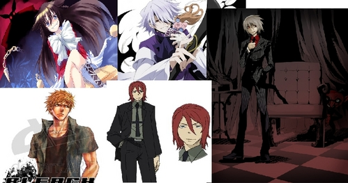 lets see here...AHA Spirit from Soul eater, Soul in his smexy suit from Soul eater, Alice from Panndora hearts, Break from Pandora hearts, and Ichiberry from Bleach!! X3