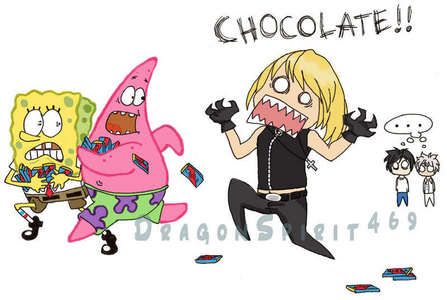 im surprized no one did this....CCCHHHOOOOCCOOOOLAAAAATE!!!!!!!!!! হাঃ হাঃ হাঃ poor Spongebob and Patrick...L and Near are now mentally scarred XD