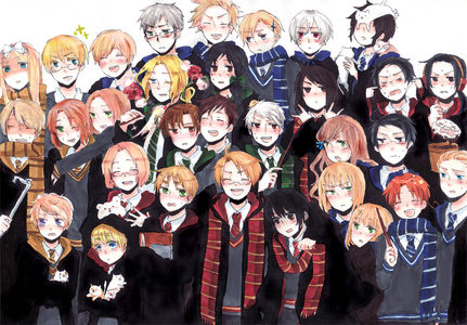 hetalia - axis powers characters dressing up in Harry Potter galore!