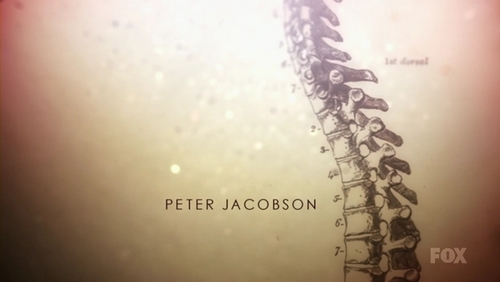 when Peter Jacobsons name appears is the spine look at the image