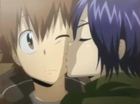 When Chrome kissed Tsuna on the cheek in thanks.