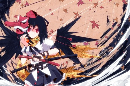 this girl from touhou! she has short hair and red eyes!