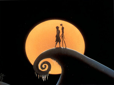 Jack and Sally on Spiral Hill- The Nightmare Before Christmas. It's so cute!