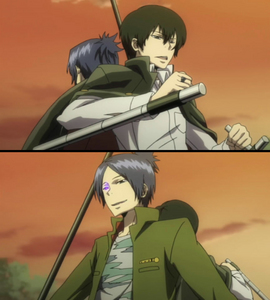 Mukuro & Hibari from Katekyo Hitman Reborn! They always want to fight each other and at the beginning they were enemies... Now, they still act like they hate each other, but are in the same team, so they sometimes help each other xD
