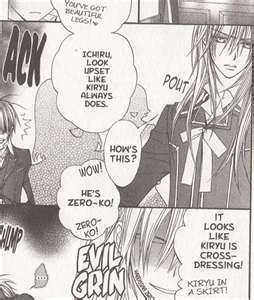 I like Zero... Sorry, Kaname fangirls, I just think that Zero's better. And I also think Zero's madami fun to torture. Because, torturing is my way of loving! I also like Ichijou, 'cause he WON'T kill me for torturing him... And we're both sadists! This is what I mean sa pamamagitan ng torture.v I will never let him live that down...