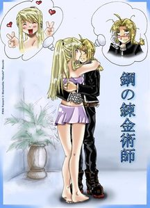 "I like this one! :3 Especially how winry's thinking, ""SCORE!"" while Ed is thinking, ""...What the hell am I doing?"""