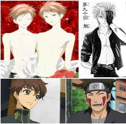 -Tasuki from Fushigi Yuugi. -Kiba Inuzuka from Naruto. -Hikaru y Kaoru Hitachiin from Ouran High School Host Club. -Suzaku Kururugi from Code Geass.