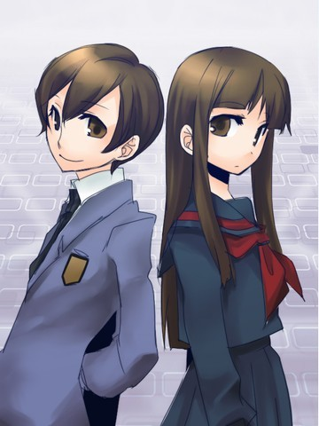 Haruhi is really a girl but goes to school as a boy.ouran highschool host club.she cut her hair becouse a boy sticket bubblegum on her hair.