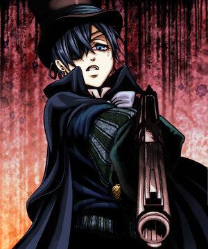 earl ciel phantomhive of kuroshitsuji/black butler he has one blue eye cause his other eye has the contract so it's purple
