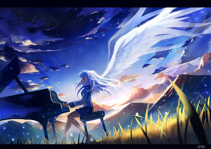 Angel Beats. Angel playing the piano.