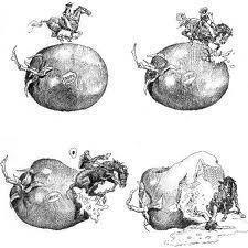 """""""Quiconque ne peut pas imaginer un homme au galop à travers une tomate sur un cheval est un imbécile."""" -André Breton. English: """"Anyone who can not imagine a man galloping across a pomodoro on a horse is a fool."""" -André Breton."""