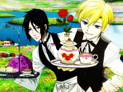 tamaki cosplaying as sebastian....with sebastian right behind him