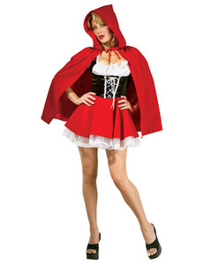 I'm going as a totaly bad-ass Little Red Riding Hood, and I'm going to dress my dad uo as the wolf, and lead him along with a leash. xD So basicly, this costume, plus a chunky cintura and combat boots. And my dad dressed as a wolf. >:3
