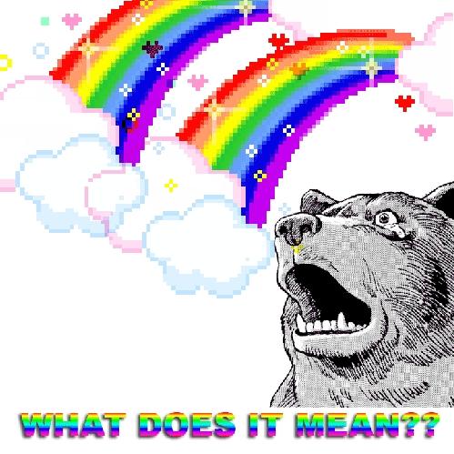 I dunno, ask this bear. LOL no, it's a kitty face.