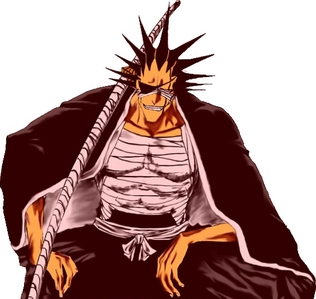 Kenpachi from Bleach! His enemies' blood, his own blood, he doesn't care- he just likes violence.