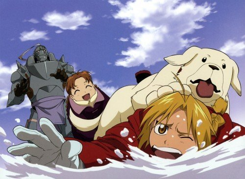 Full Metal Alchemist (in the winter). Alphonse & Edward Elric with Nina (I forget the dogs name.)